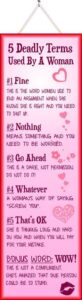 Read more about the article 5 Deadly Terms Used By a Woman Funny Quote Sign in Pink