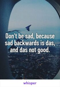 Read more about the article Don't be sad, because sad backwards is das, and das not good.