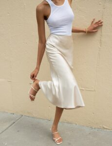 Read more about the article Rene Beige Satin Long Skirt