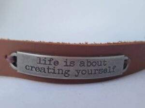 Read more about the article Leather bracelet stamped quote   Essential Oil Diffusing Bracelet   Leather diffusing jewlery – life is about creating yourself