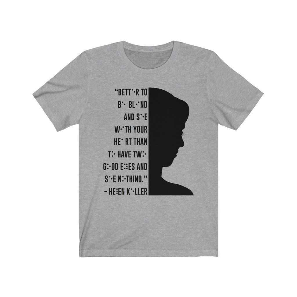 You are currently viewing Braille Helen Keller Unisex Jersey Short Sleeve Tee – Athletic Heather / S