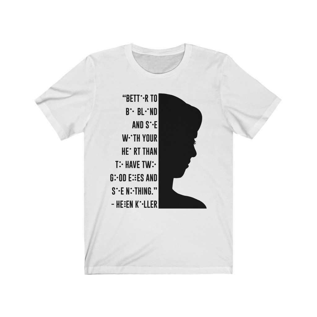 You are currently viewing Braille Helen Keller Unisex Jersey Short Sleeve Tee – White / L