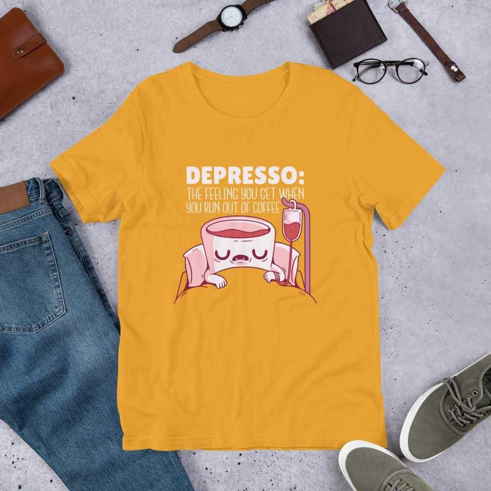 You are currently viewing Depresso Coffee – Short-Sleeve Unisex T-Shirt – Mustard / XL