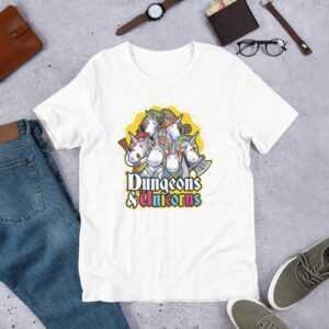 Read more about the article Dungeons & Unicorns – Short-Sleeve Unisex T-Shirt – White / XL