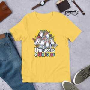 Read more about the article Dungeons & Unicorns – Short-Sleeve Unisex T-Shirt – Yellow / XL