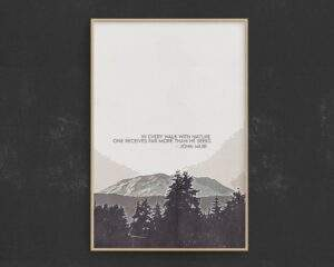 Read more about the article In Every Walk With Nature One Receives Far More Than He Seeks – John Muir Quote – 24″ × 36″ / CG matt
