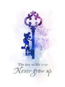 Read more about the article Never Grow Up Mickey Mouse Quote ART PRINT Key, Nursery, Gift, Wall Art, Home Decor