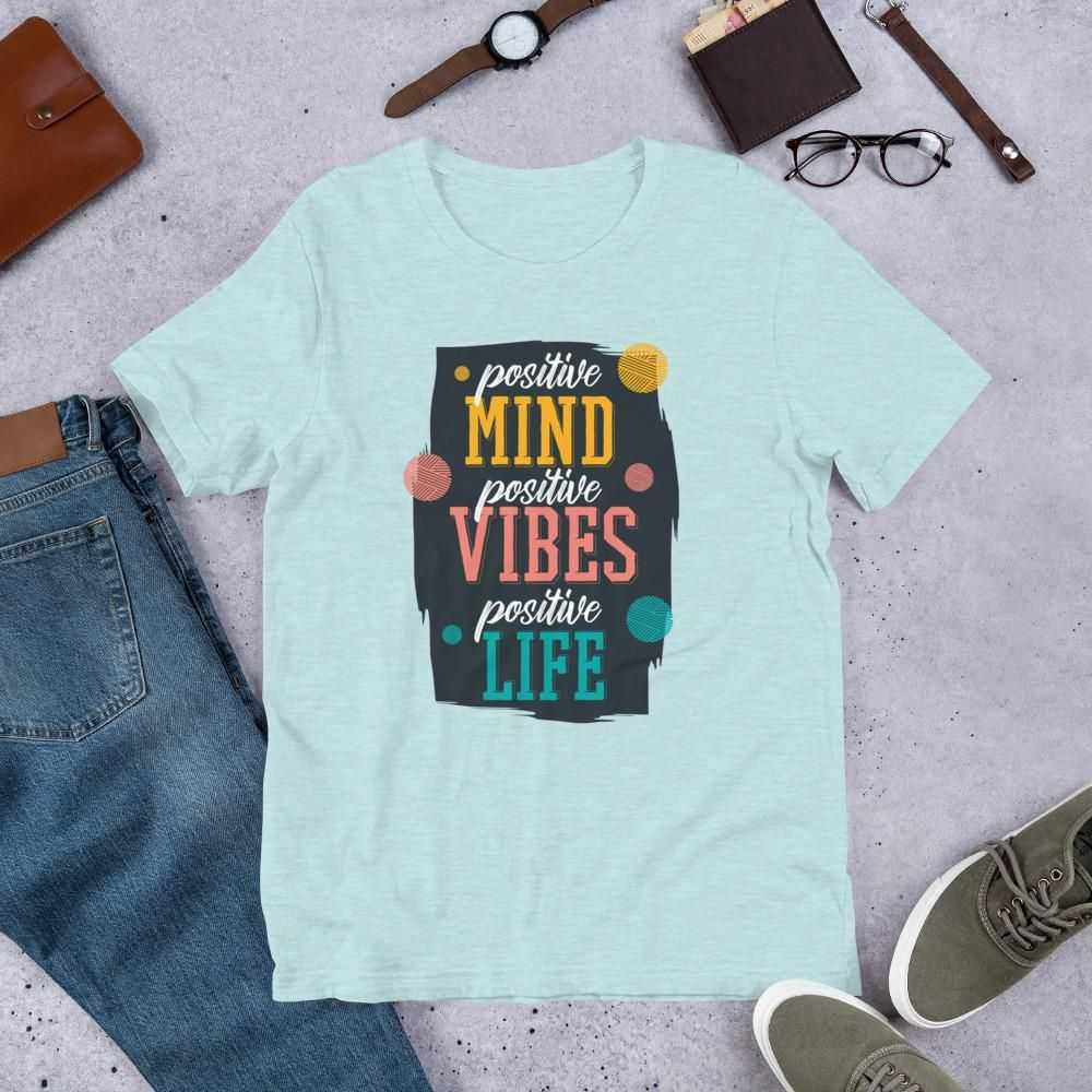You are currently viewing Positive Quote – Short-Sleeve Unisex T-Shirt – Heather Prism Ice Blue / L