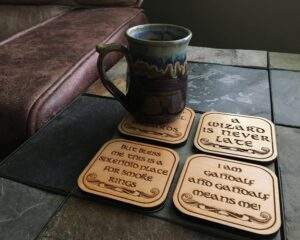 Read more about the article Set of 4, Gandalf, Laser Engraved Wood