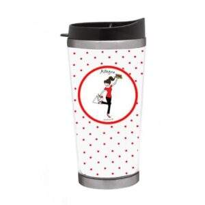 Read more about the article Teacher Tumbler – Sitting at Desk / Polka Dots