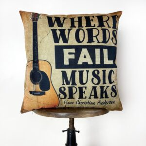 Read more about the article Guitar Gifts | Where Words Fail Music Speaks | Pillow Cover | Home Decor | Throw Pillow | Gift | Music decor | Music Gifts – 18×18 Inches / Cover Only