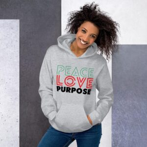 Read more about the article Peace Love Purpose, Cool Statement – Unisex Hoodie – Sport Grey / XL