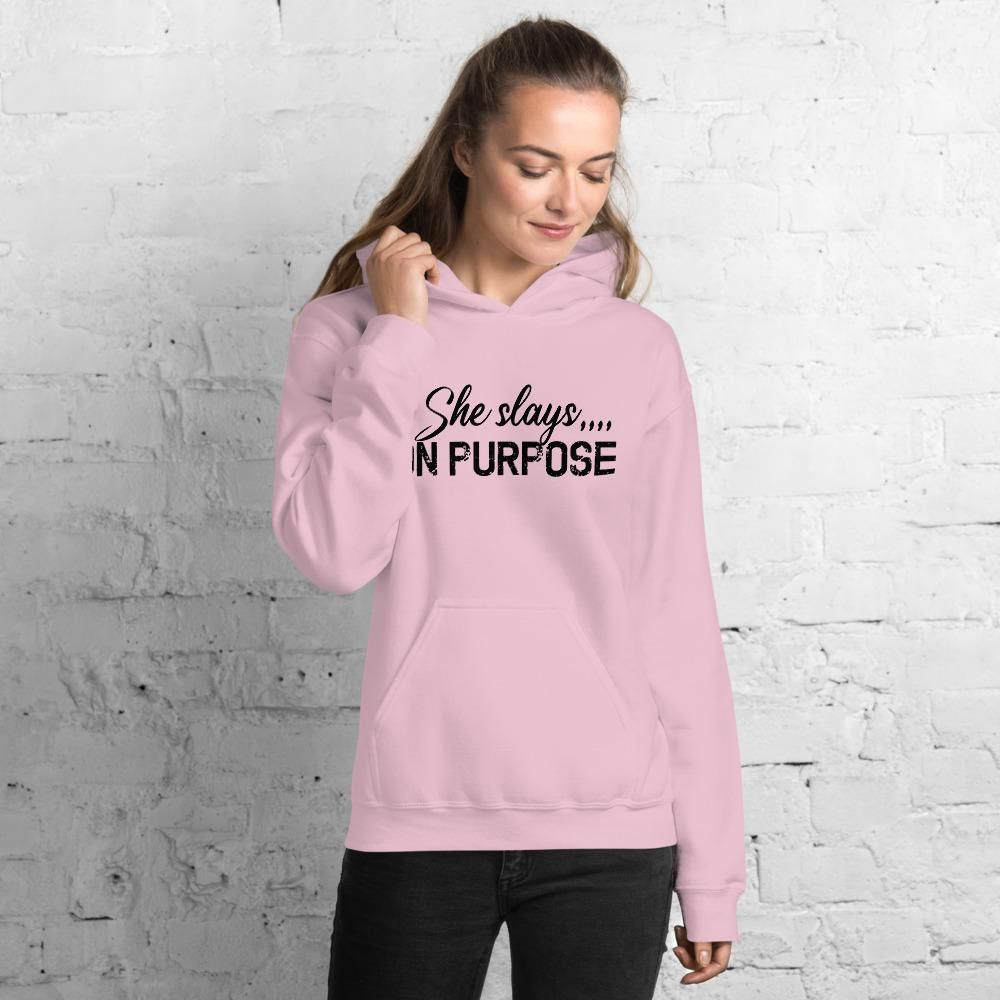 You are currently viewing She Slays On Purpose, Motivational Quotes – Unisex Hoodie – Light Pink / XL