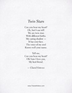 Read more about the article Twin Stars. Beautiful friendship poem, words and poetry