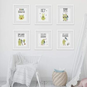 Read more about the article Cute Monsters Nursery Wall Art Prints (Set of 6) – Unframed – 8in x 10in