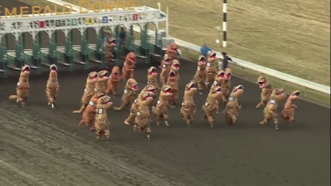 You are currently viewing VIDEO: Dinosaurs take the track in viral T-Rex races