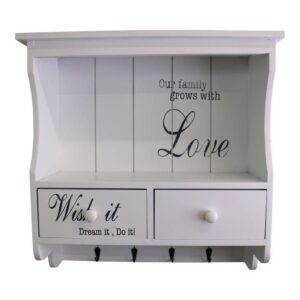 Read more about the article Wall Unit in White with Hooks, Drawers & Shelf