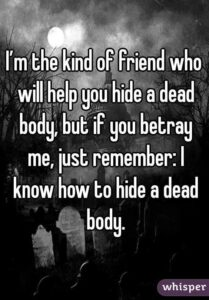 Read more about the article I'm the kind of friend who will help you hide a dead body, but if you betray me, just remember: I know how to hide a dead body.