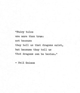 """Read more about the article Neil Gaiman Typewriter Print 'Dragons can be beaten"""" Inspirational Book Quote, Coraline, Dragon Quote"""