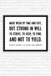 Read more about the article Alfred Lord Tennyson Quote Print, Ulysses Poem, To strive, to seek to find, and not to yield