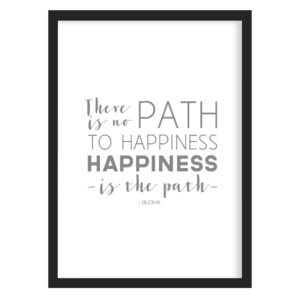 Read more about the article Buddha Happiness Art Print (White) – A3 (297mm x 420mm) / Black Frame