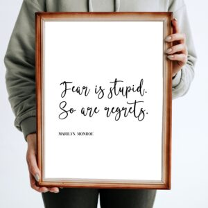 """Read more about the article """"Fear Is Stupid.  So Are Regrets."""" Famous Quote by Marilyn Monroe, Printable Art"""