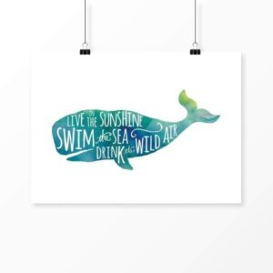 Read more about the article Live in the Sunshine watercolor whale – 8×10 Unframed Print